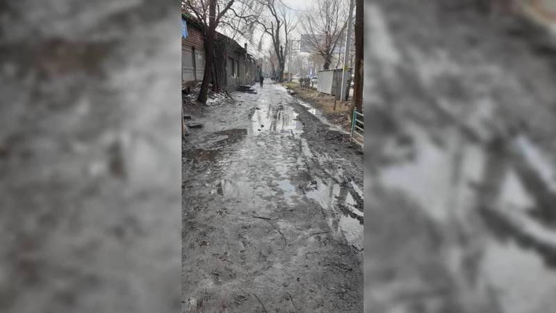 Тротуар по улице Льва Толстого утопает в грязи. Фото